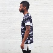 Image of Camo Tee with White Leather Stripe and Zips