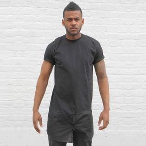 Image of Black T-Shirt With Shirt Bottom Panel.