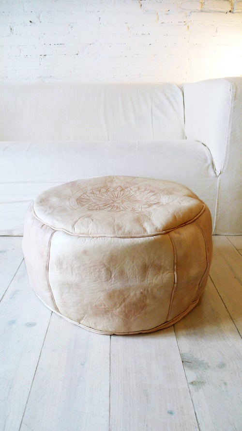 Image of Moroccan Natural Leather Pouf - Large