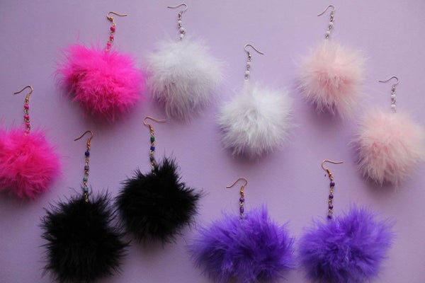 Image of Beaded Pom Pom Earrings