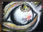 "Image of ""Theres fireworks in your eyes"" 18 x 24 framed drawing"