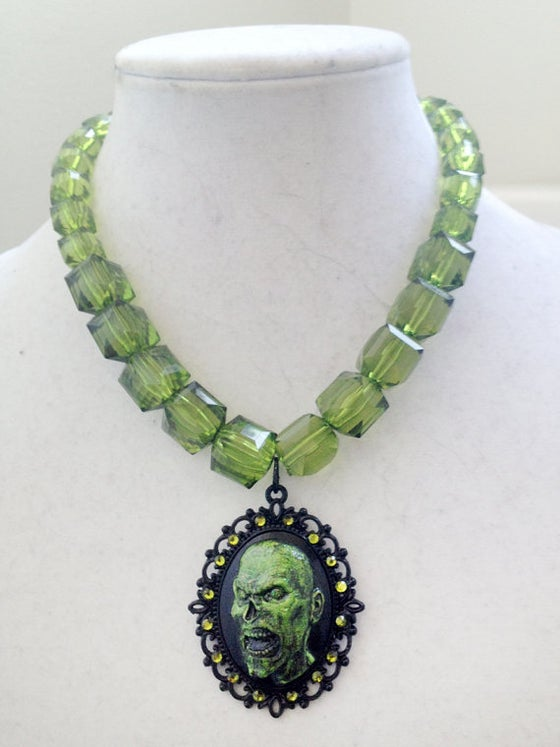 Image of Zombie Cameo Lucite Beaded Necklace