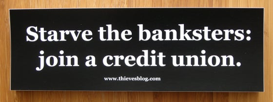 "Image of ""Starve the banksters"" bumper sticker"