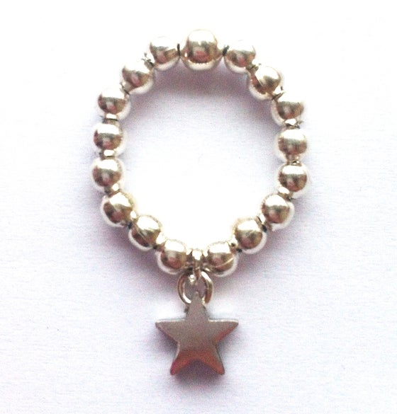 Image of Stackable silvertone ball bead ring - Star