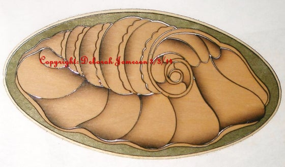 Image of Item No. A11.  Nautical Marquetry Design Shell.