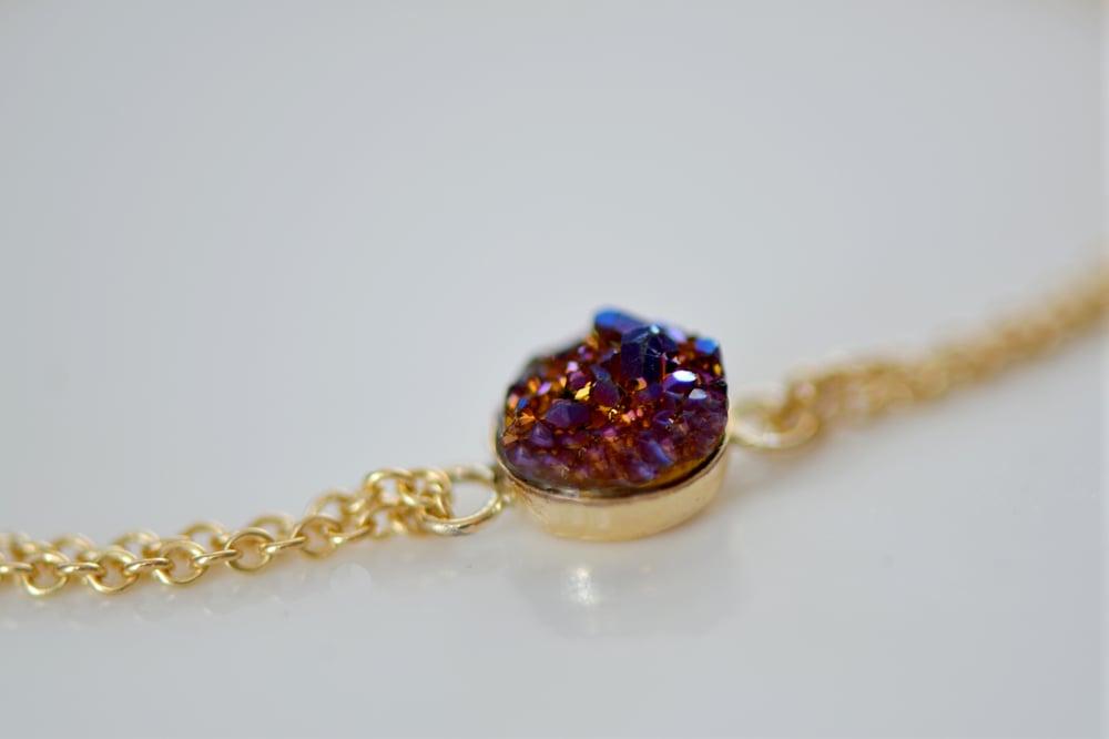 Image of Tiny Plum Druzy Bracelet