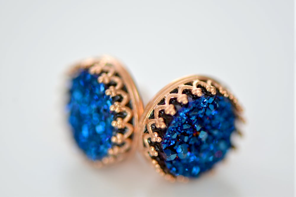 Image of Royal Blue Druzy Studs in Rose Gold