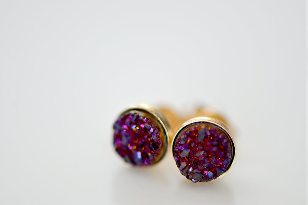 Image of Tiny Plum Druzy Studs