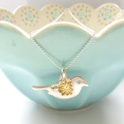 Image of Silver and Gold Flower Love Bird Pendant