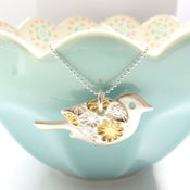 Image of Silver and Gold Flower Bird Pendant