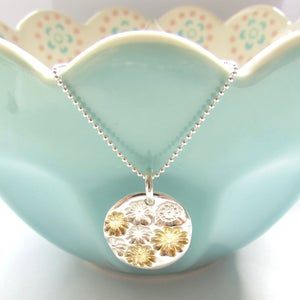 Image of Silver and Gold Flower Round Pendant