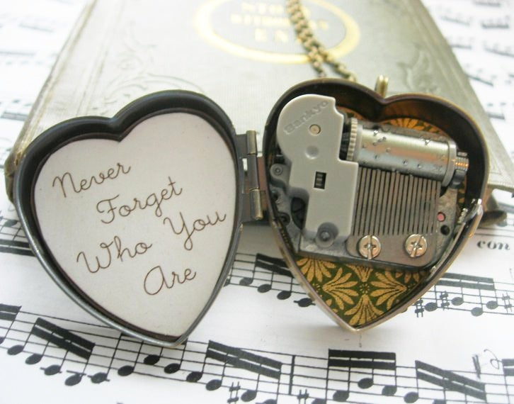 Image of Little Wing Miniature Music Box Locket in Green and Gold