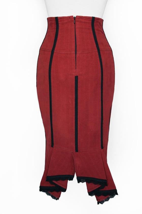 Image of Brick High Waist Pencil Skirt