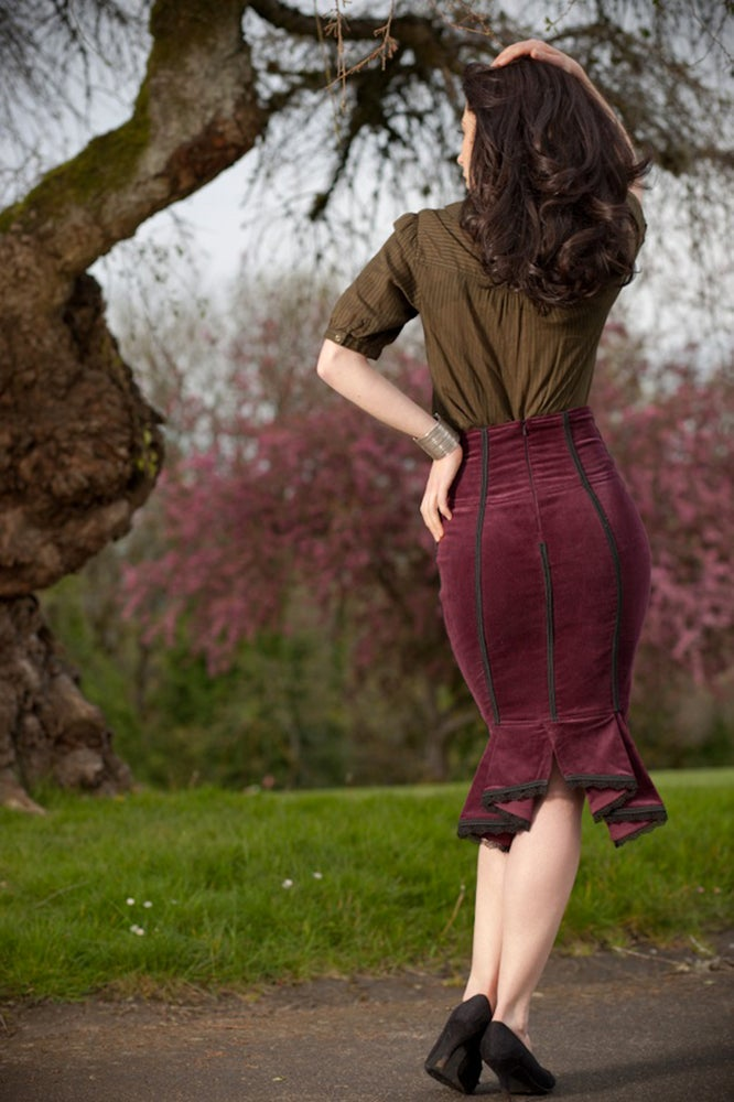 Image of Burgundy High Waist Pencil Skirt