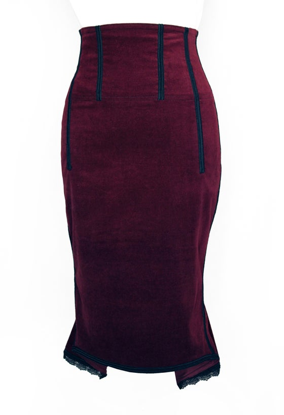 Image of Burgundy High Waist Pencil Skirt