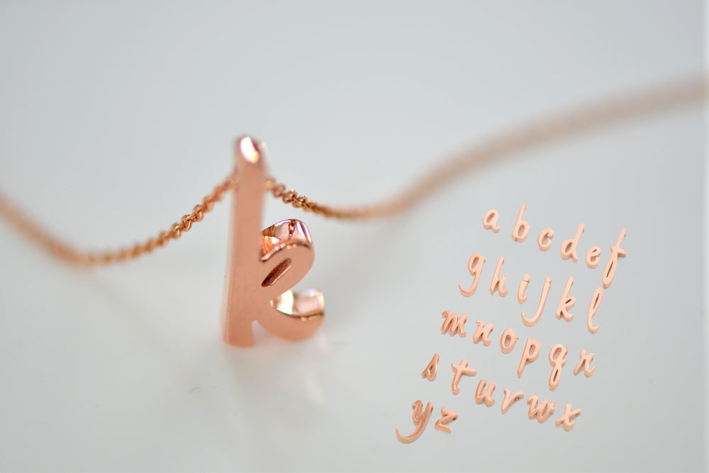 Image of Rose Gold Vermeil Script Initial Necklace