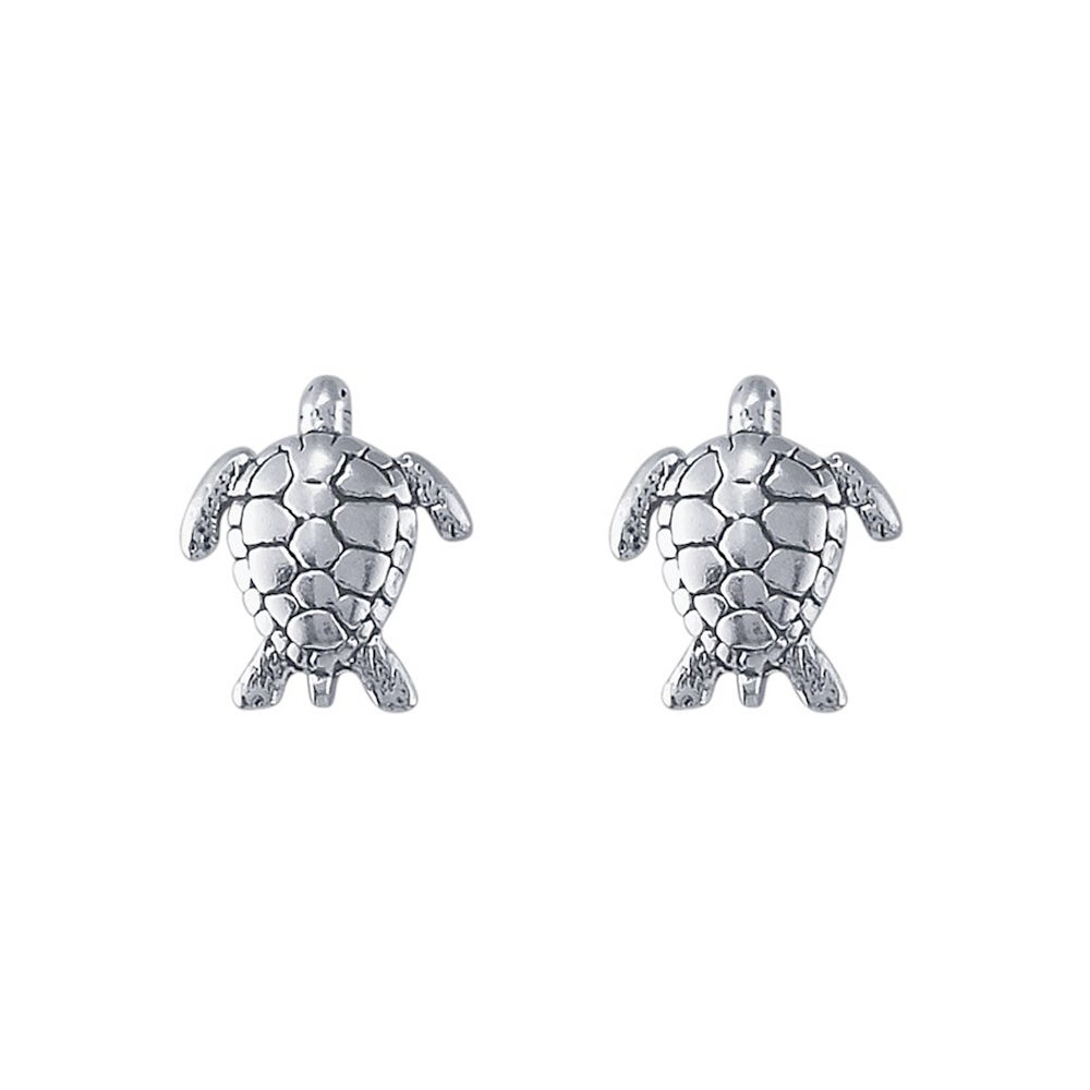 in nauticalwheeler held silver stud product of sea earrings turtle sterling image