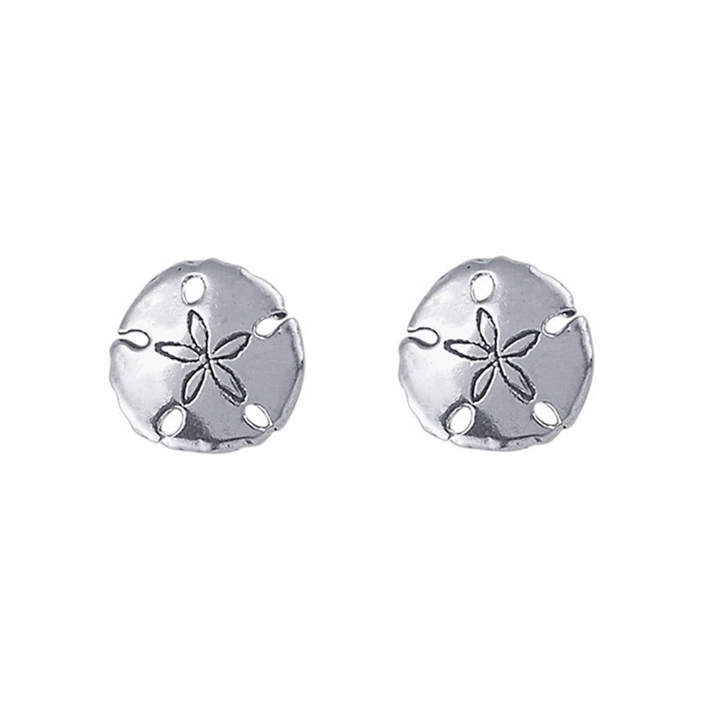 Image Of Sand Dollar Stud Earrings In Sterling Silver