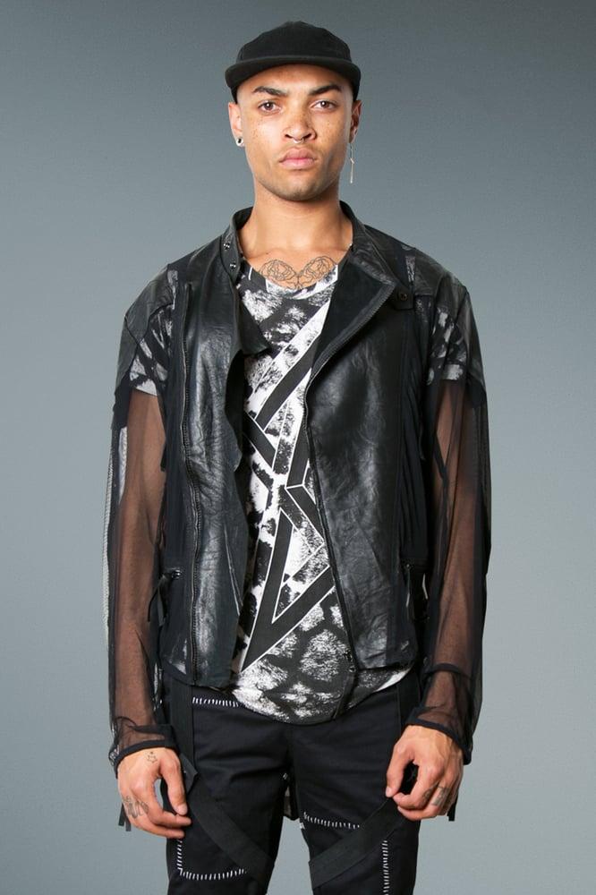 Image of Biker Jacket Black Leather & Mesh