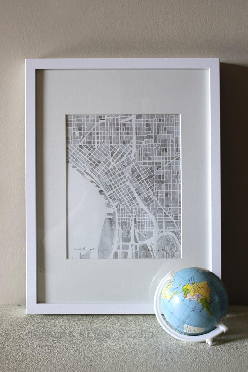 Seattle Washington Cobblestone Watercolor City Map