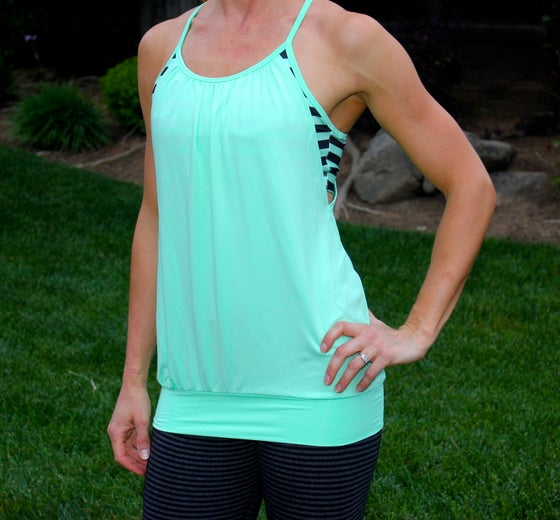 Image of    Mint/Black Stripe Layered Tank