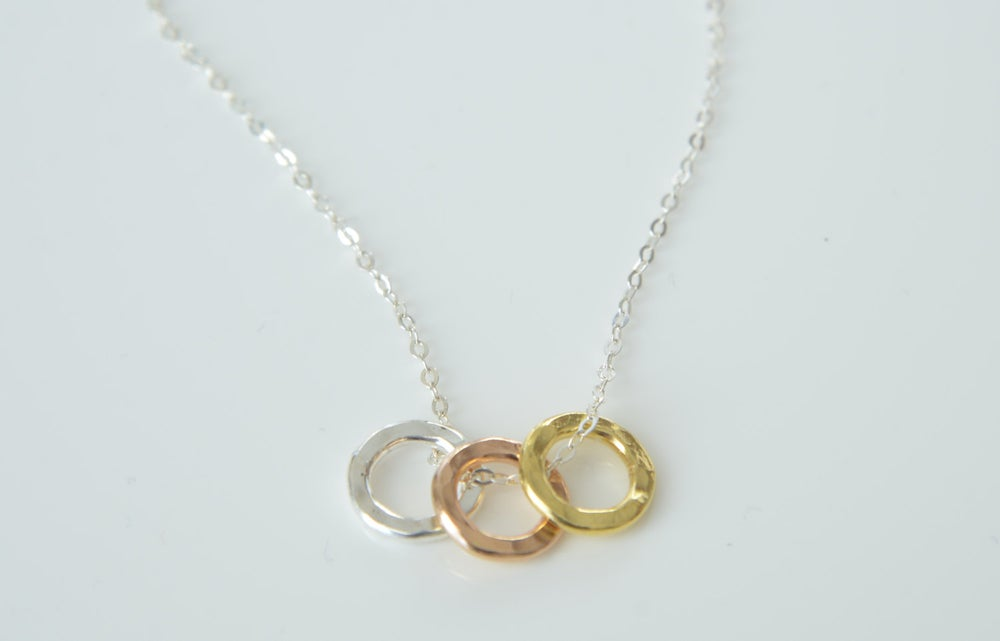 Image of Eternity Triple Ring Necklace / Triple Circle Necklace / Gold Infinity Necklace , Rose Gold Necklace