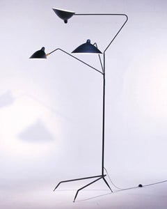 Image of Serge Mouille Style 3 Arm Standing Floor Lamp - Lampadaire 3 Bras