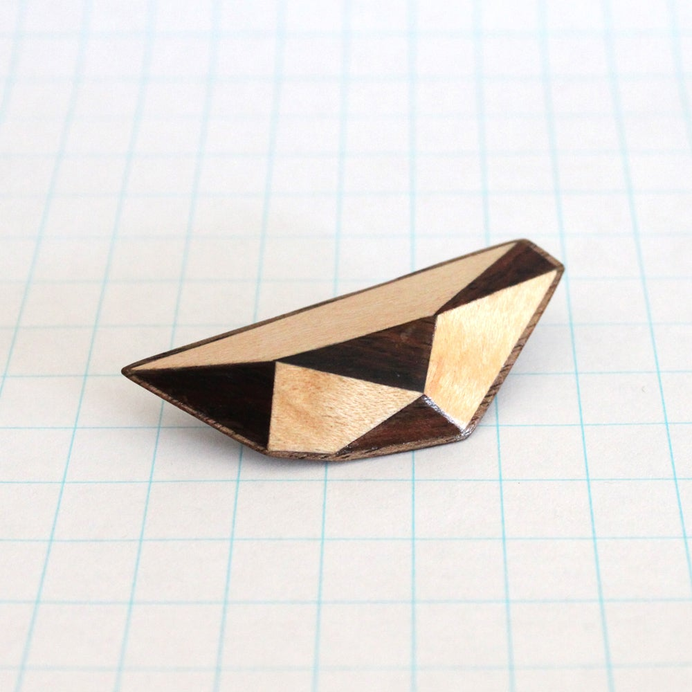Image of Wooden Polytope Brooch No.42