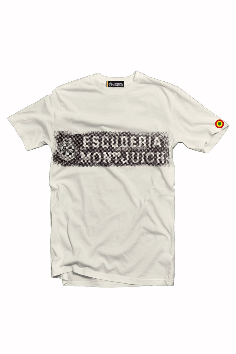 "Image of ESCUDERIA MONTJUICH TSHIRT ""WASTED STICKER IVORY"""