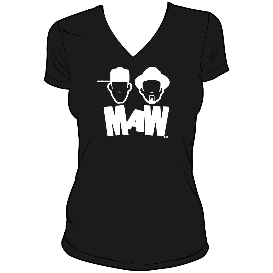 Image of WOMEN'S-MAW V NECK WHITE ON BLACK