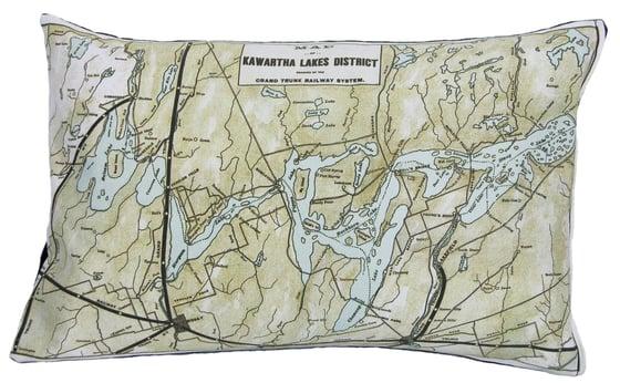 Image of Kawartha Lakes Vintage Map Pillow