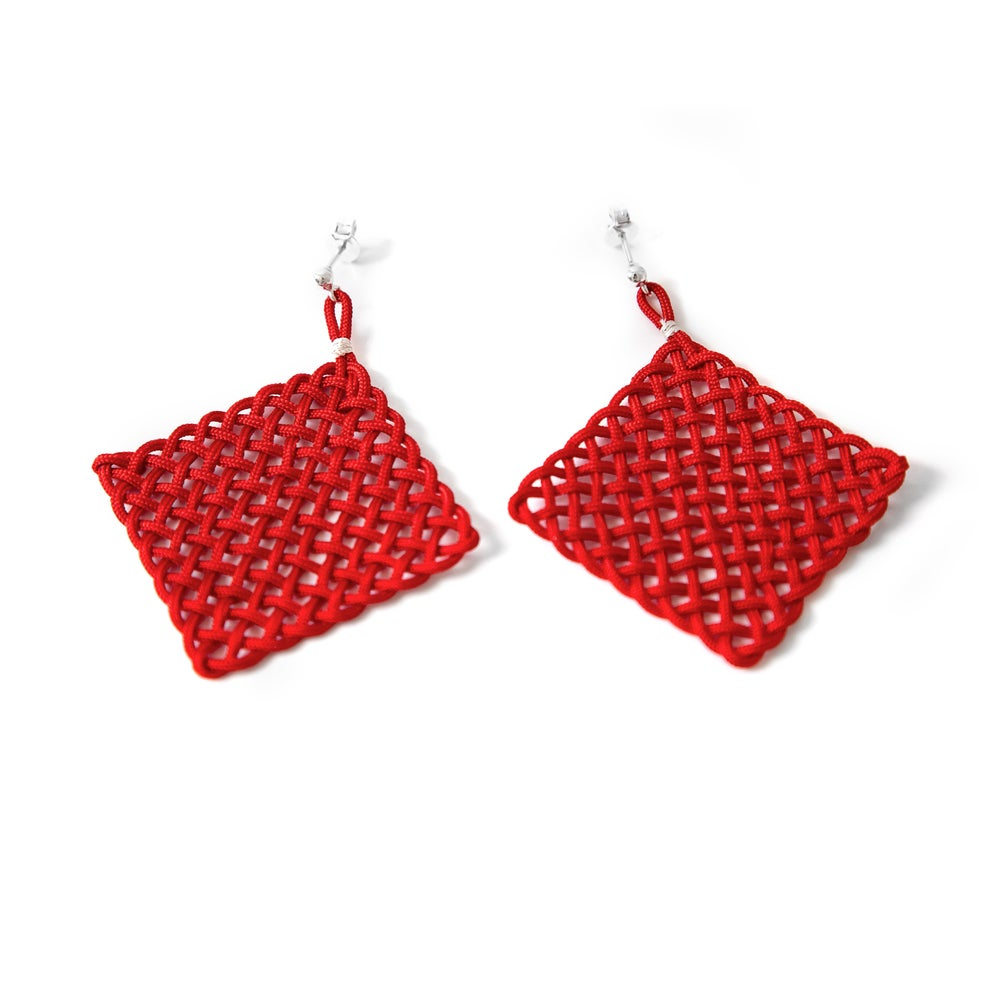 Image of Square mesh earrings