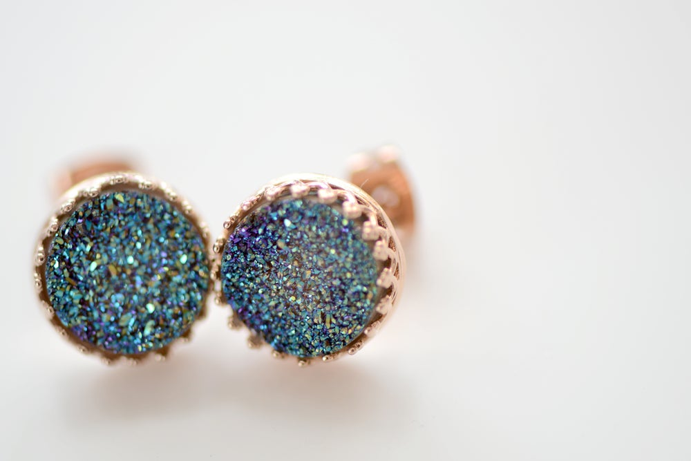 Image of Mystic Blue Green Druzy Studs in Rose Gold Crown Bezel