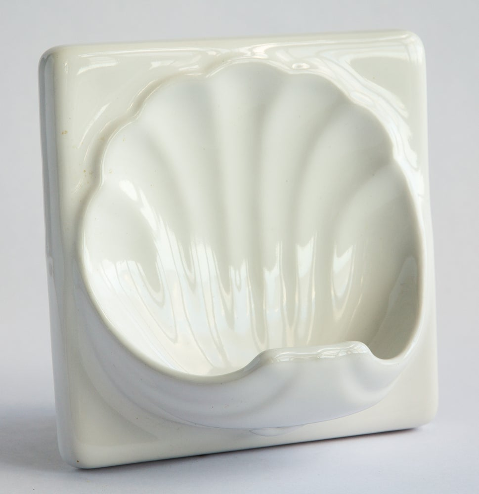 Image of Art Deco Soap Dish Tile - White