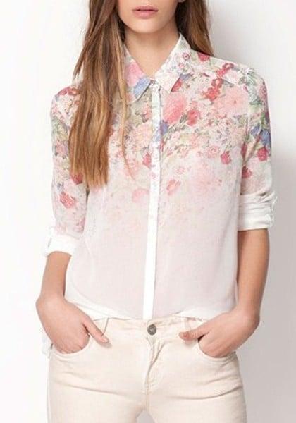 Image of White Flower Shirt
