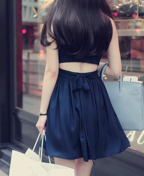 Image of Backless sleeveless chiffon dress vest bind women cultivate one's morality dress