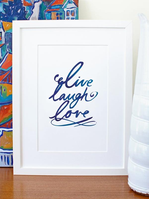 Image of Live laugh love art print - Navy Blue