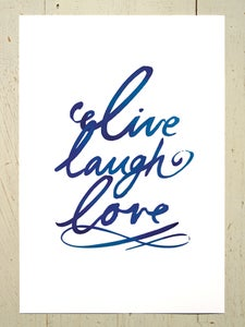 Image of Live laugh love art print - Navy Blue