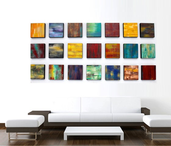 Image of 'CHUNKY COLOR BLEND BLOCKS' | Original Abstract Art | Painted Wood Wall Sculpture