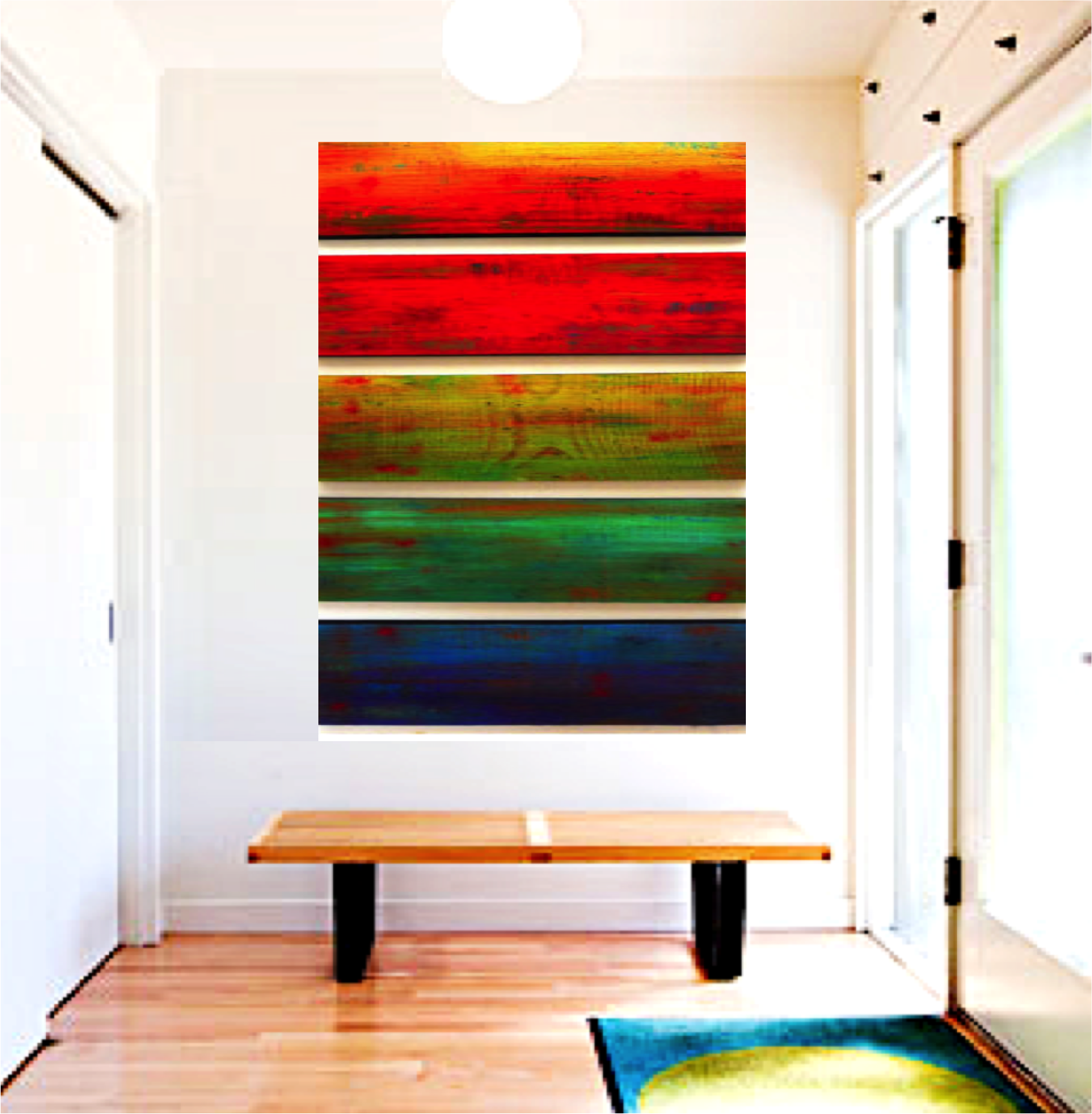 Image Of Ombre Wall Art | Original Wall Sculpture | Wood Wall Decor | Colorful  Wall ...