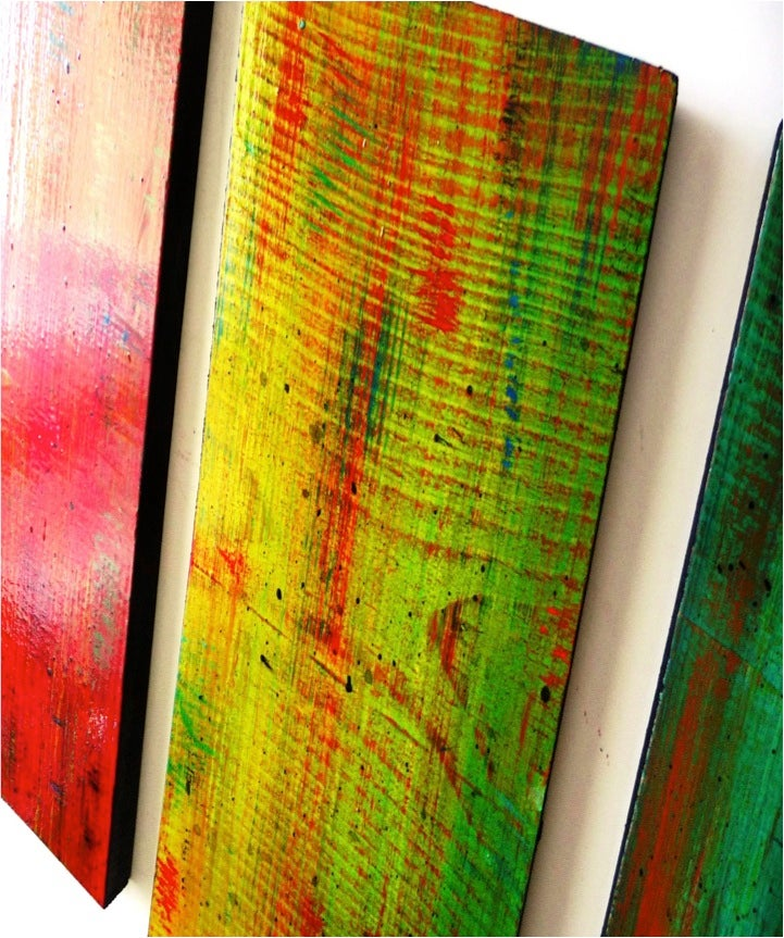 Image of 'SOLIDARITY IN 5' | Ombre Wall Art | Original Wall Sculpture | Wood Wall Decor | Colorful Wall Art