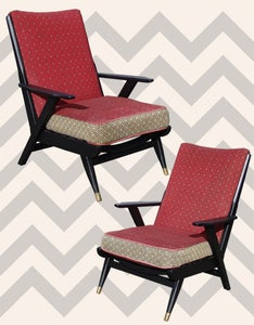 Image of Iconic Pair of 1950s Atomic-era Lounge Chairs