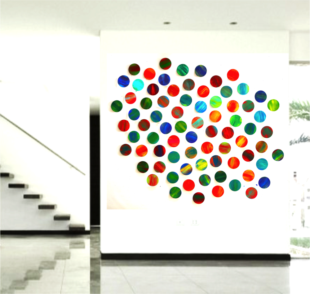 Image of 'LYRICAL CIRCLES' | Large art installation | Mixed media abstract painted geometric wall sculpture