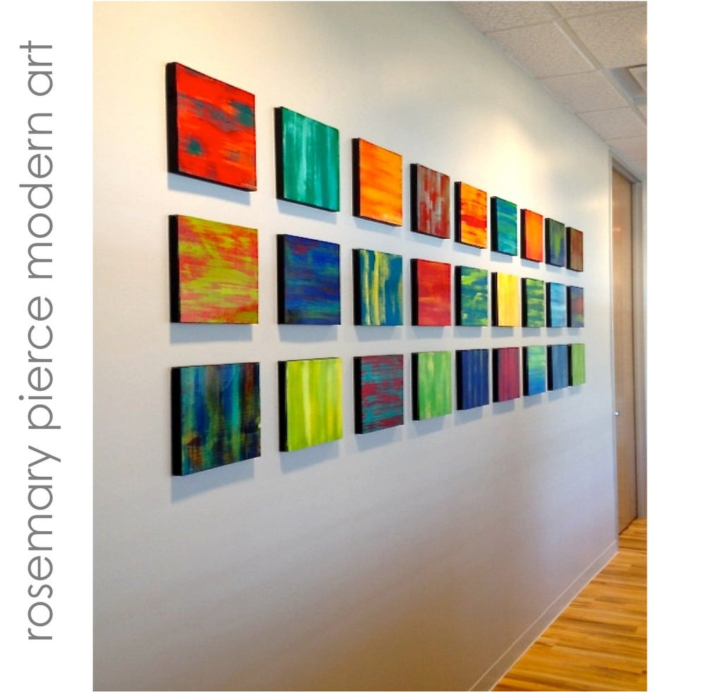 Image of color blends large abstract original painted wood wall panels wood wall