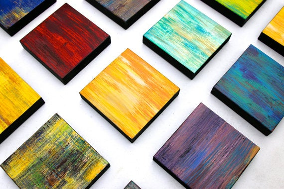 Image of 'IMPRESSIONS' | Original Abstract Painting | Wood Wall Art Sculpture | Colorful Painting
