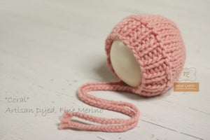 "Image of Ribbed Knit Bonnet - ""Coral"""