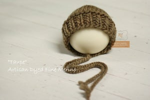 """Image of Ribbed Knit Bonnet - """"Taupe"""""""