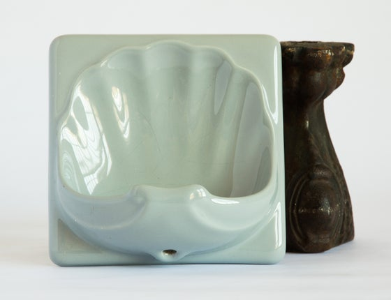 Image of Art Deco Soap Dish Tile - Blue