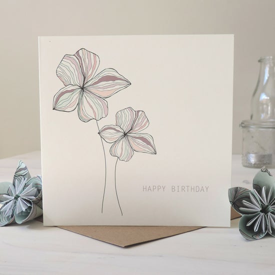 Image of Blossom Motif 'Happy Birthday' Card