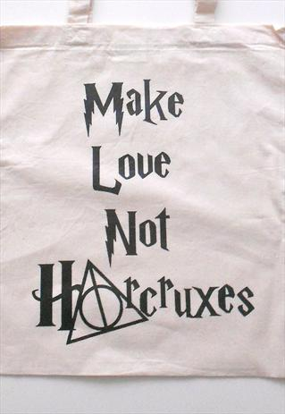 Image of Harry Potter 'Make Love Not Horcruxes' Natural Tote Bag